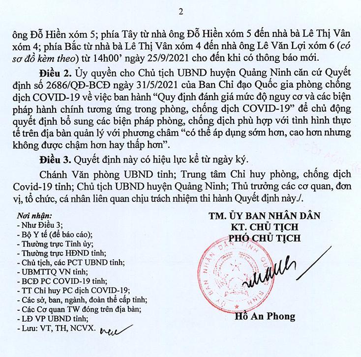 Áp dụng Chỉ thị 15 tại một phần thôn Văn La, xã Lương Ninh (Quảng Ninh)