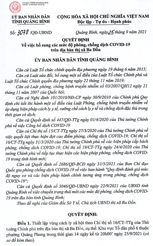 Áp dụng Chỉ thị 16 tại tổ dân phố 6, phường Quảng Phong (TX. Ba Đồn)