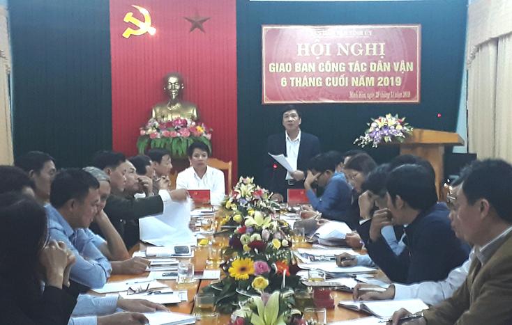 Ban Dân vận Tỉnh ủy:  Giao ban công tác dân vận những tháng cuối năm 2019