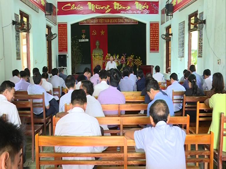 Ban thường vụ Huyện ủy Quảng Trạch làm việc với xã Quảng Đông về công tác giải phóng mặt bằng Dự án Nhà máy Nhiệt điện Quảng Trạch