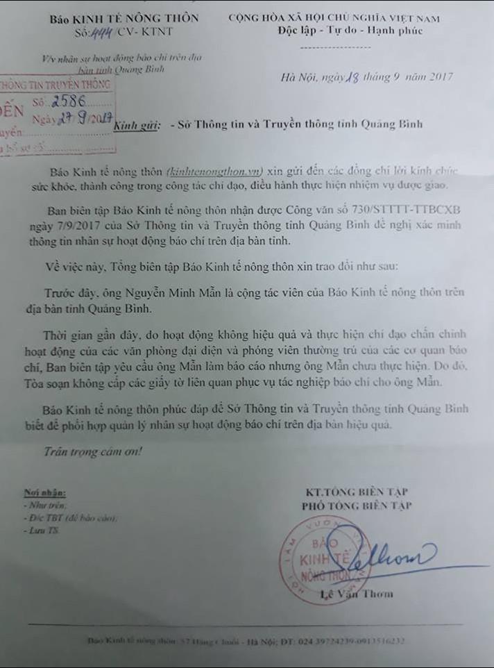 Báo Kinh tế nông thôn không cấp các giấy tờ liên quan phục vụ tác nghiệp báo chí cho ông Nguyễn Minh Mẫn