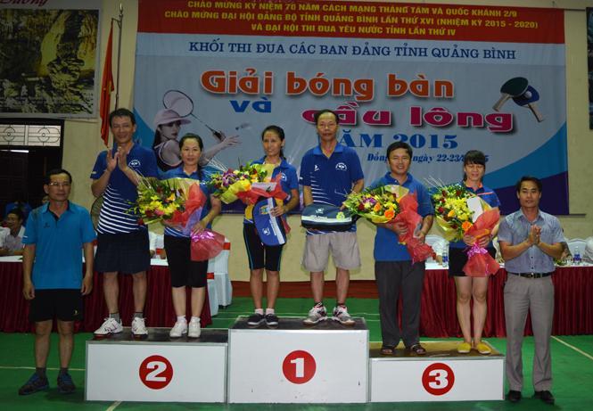 Bế mạc giải bóng bàn và cầu lông Khối thi đua các ban Đảng tỉnh