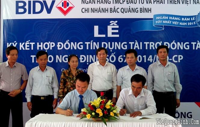 BIDV Bắc Quảng Bình ký kết hợp đồng tín dụng vay vốn đóng tàu theo Nghị định số 67/2014/NĐ-CP