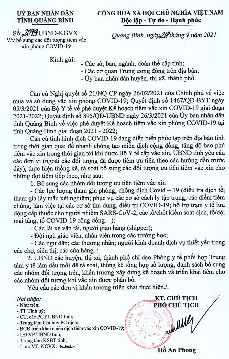 Bổ sung các đối tượng tiêm vắc xin phòng Covid-19