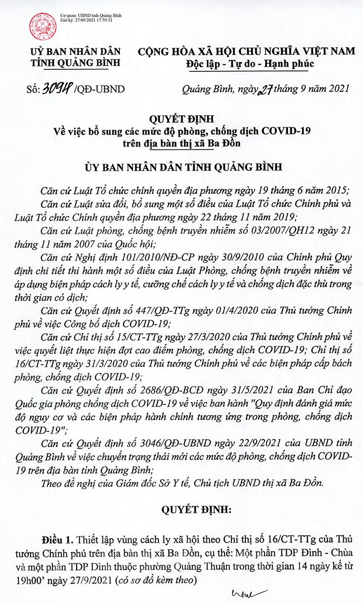 Bổ sung các mức độ phòng, chống dịch Covid-19 trên địa bàn TX. Ba Đồn