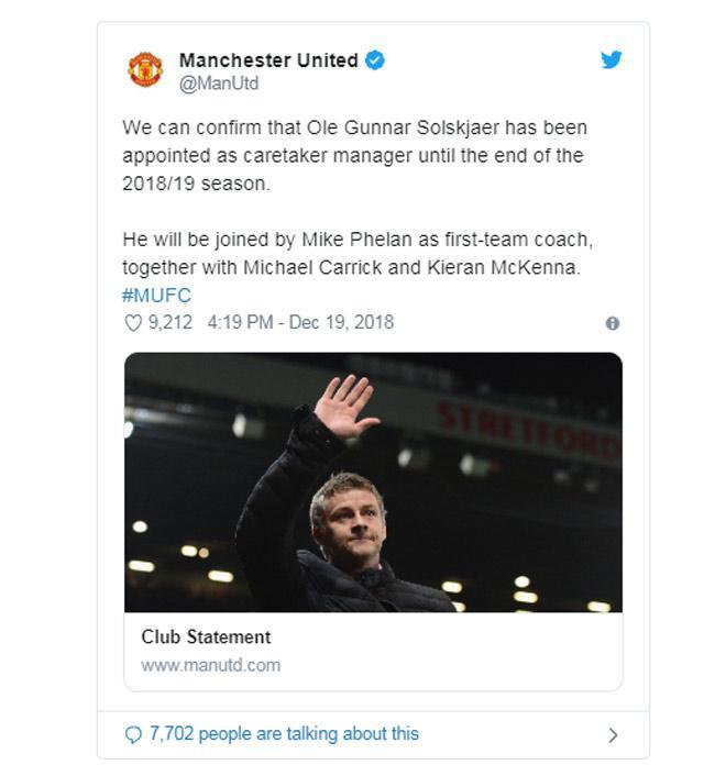 CHÍNH THỨC: MU bổ nhiệm huyền thoại Solskjaer thay Mourinho