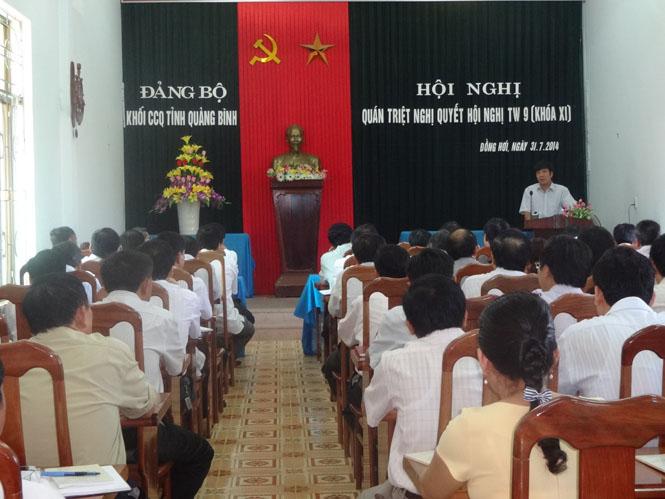 Đảng bộ Khối các cơ quan tỉnh: Quán triệt Nghị quyết Hội nghị Trung ương 9 (Khoá XI)