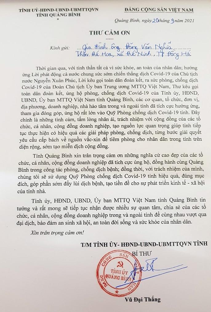 Đề nghị tặng Bằng khen của UBND tỉnh cho gia đình ông Đặng Văn Nghĩa