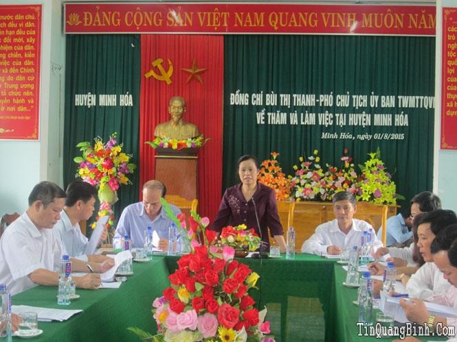 Đoàn công tác UBTƯMTTQVN làm việc với UBMTTQVN huyện Minh Hóa