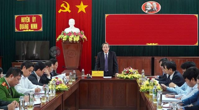 Đồng chí Bí thư Tỉnh ủy làm việc với Ban Thường vụ Huyện ủy Quảng Ninh