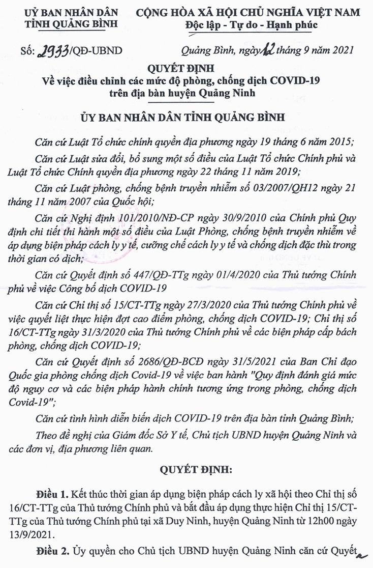 Kết thúc thời gian áp dụng Chỉ thị 16 tại xã Duy Ninh (Quảng Ninh)