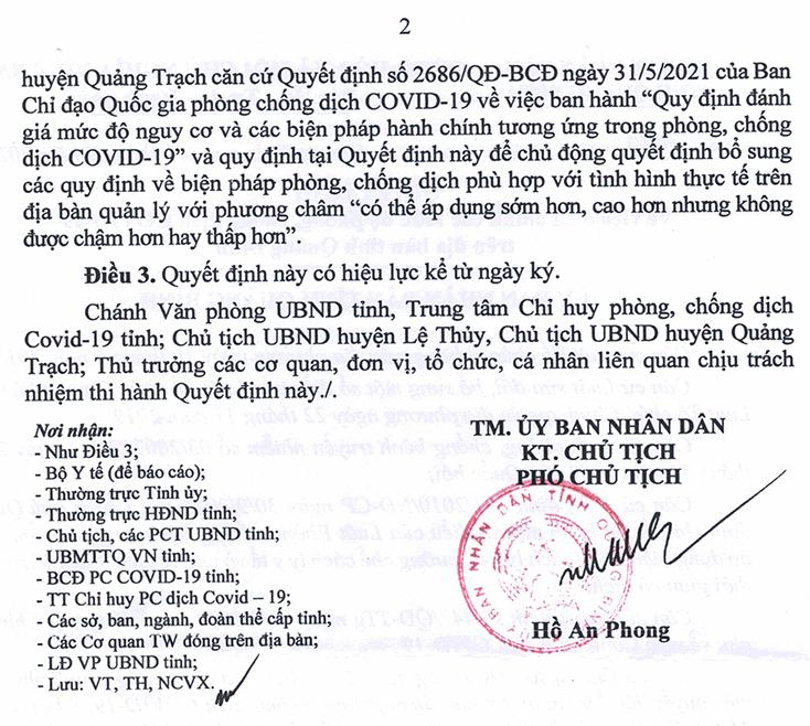 Kết thúc thời gian áp dụng Chỉ thị 16 đối với một số địa phương tại huyện Lệ Thủy và Quảng Trạch