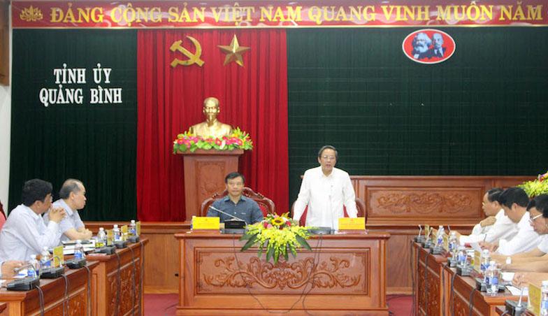 Lãnh đạo Văn phòng Trung ương Đảng làm việc với Thường trực Tỉnh ủy Quảng Bình