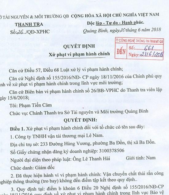 Quảng Bình: Phạt tiền doanh nghiệp đổ chất thải sai quy định