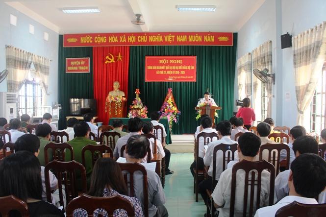 Quảng Trạch: Thông báo nhanh kết quả Đại hội Đảng bộ tỉnh lần thứ XVI, nhiệm kỳ 2015 -2020