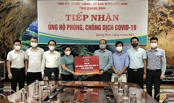 Tập đoàn DIC ủng hộ Quỹ Phòng, chống dịch Covid-19 tỉnh 1,2 tỷ đồng