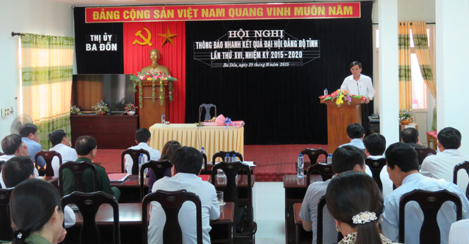 Thị ủy Ba Đồn: Thông báo nhanh kết quả Đại hội Đảng bộ tỉnh lần thứ XVI