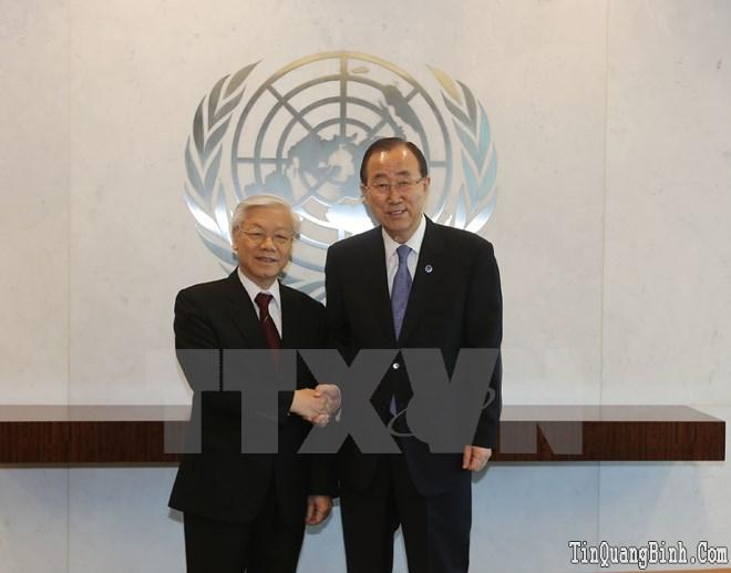 Tổng Bí thư trao đổi về vấn đề ở Biển Đông với Tổng thư ký LHQ