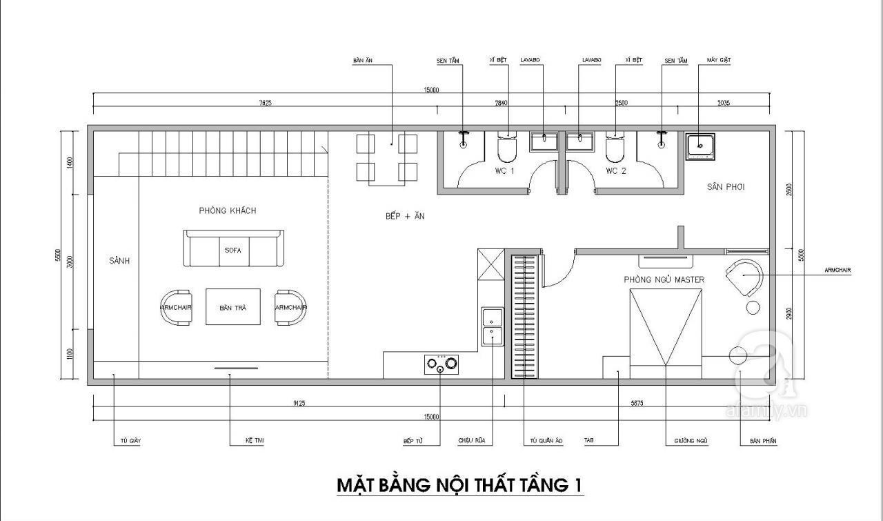 Tư vấn thiết kế nhà có gác lửng với diện tích 100m² cho gia đình 4 người với tổng chi phí 158 triệu đồng