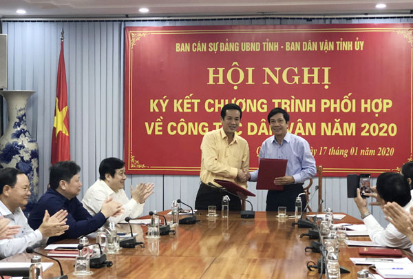 UBND tỉnh ký kết kế hoạch phối hợp về công tác dân vận