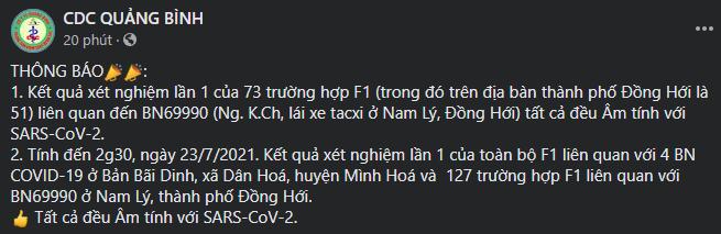 CDC Quảng Bình: Toàn bộ F1 của 4 F0 ở Minh Hoá và 127 F1 của F0 ở TP Đồng Hới âm tính lần 1